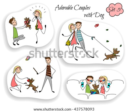 Set of colored couples in the sketch style. Characters in different situations. Couples playing with their dog, sitting at the cinema. Boyfriend with girlfriend in love. hand drawn Vector illustration - stock vector