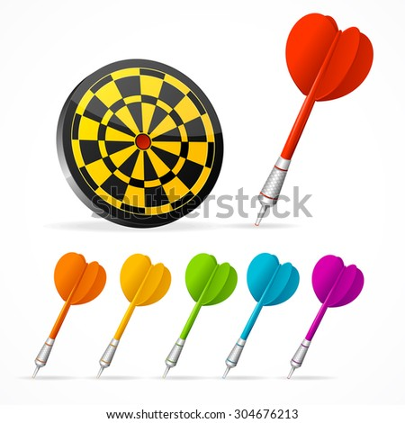 Set of colored darts and target. Vector illustration - stock vector