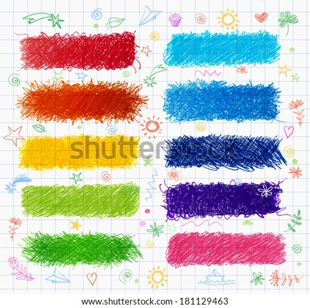 Set of colored doodle sketch banners. Hand-drawn with pen. Vector illustration.  - stock vector