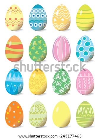set of colored Easter eggs, vector illustration - stock vector