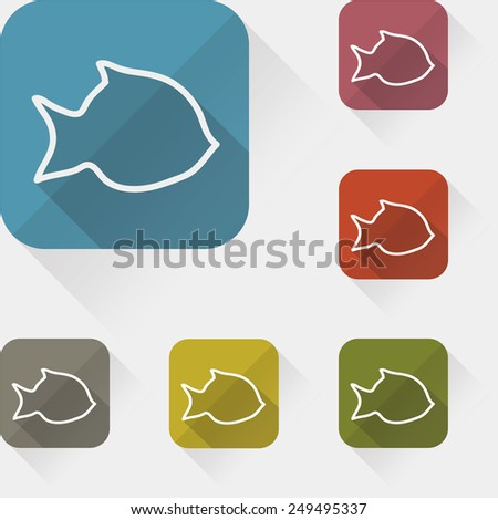 Set of colored fish with long shadow - stock vector