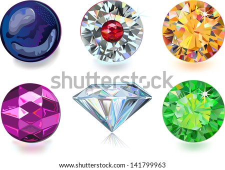 Set of colored gems isolated on white background. Created in Adobe Illustrator. Image contains gradients and gradient meshes. EPS 8.  - stock vector