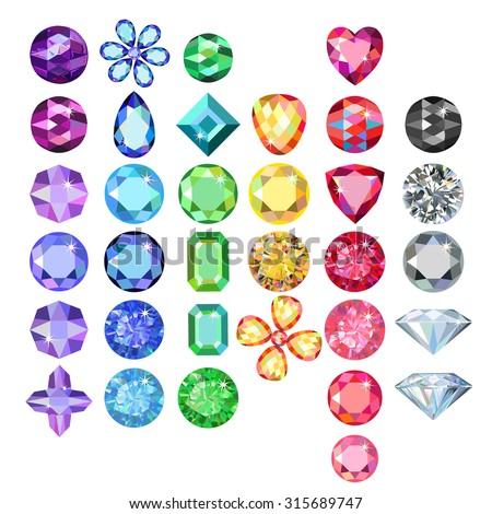 Set of colored gems isolated on white background, vector illustration - stock vector