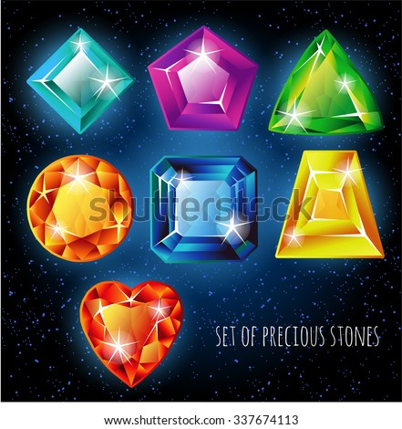 Set of colored gemstones on a black background. Jewels, vector. - stock vector