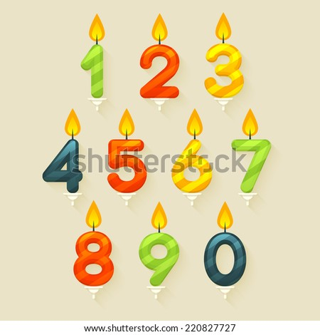 Set of colored glossy birthday cake candles. Isolated on bright background with fire flame. - stock vector