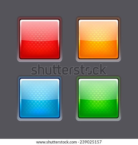 Set of colored glossy buttons - stock vector
