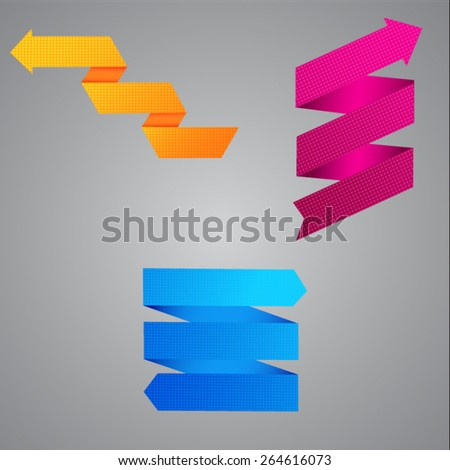 Set of colored grainy arrows on a gray background - stock vector