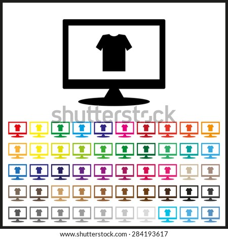 Set of colored icons. T-shirt  icon. vector design - stock vector