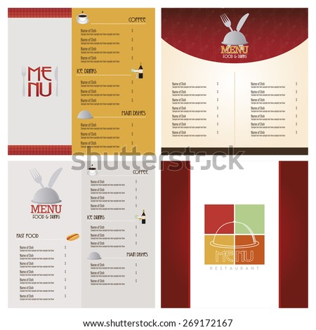 Set of colored menu designs with text and icons. Vector illustration - stock vector