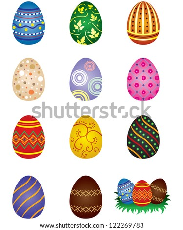 Set of colored painted easter eggs - stock vector