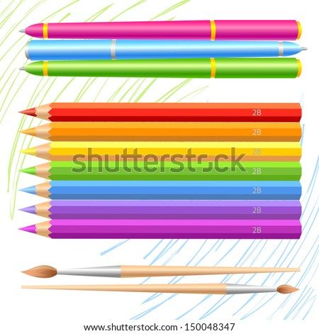 Set of colored pencils, pens and brushes - stock vector