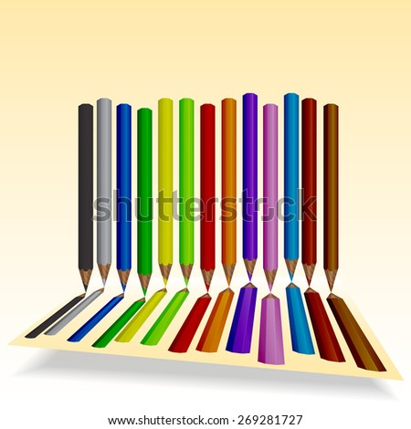 Set of colored pencils with space for text. - stock vector