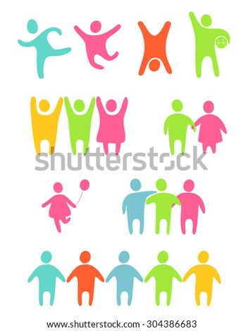 Set of colored people silhouettes - stock vector