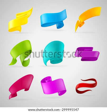 Set of colored ribbons. Realistic paper tape. Vector origami banner. - stock vector