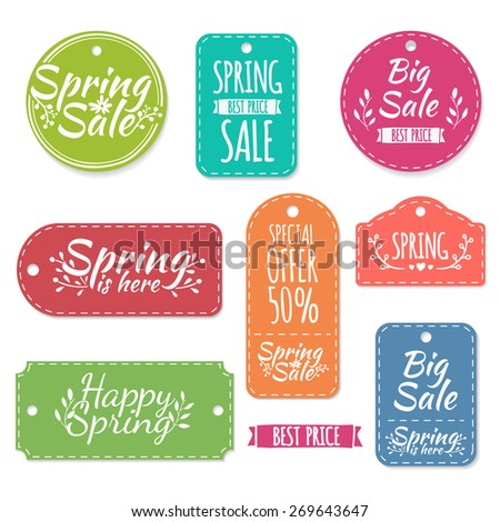 Set of colored spring stickers, labels, labels, coupons. Spring discounts, promotions, offers. Vector. Place for your text. - stock vector