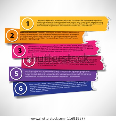 Set of colored stripes with ragged edges - stock vector