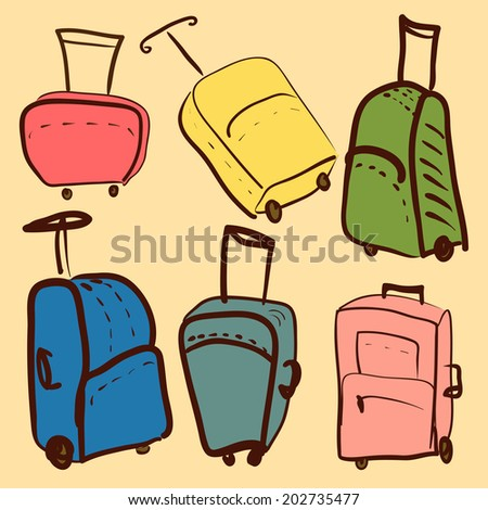 set of colored suitcases vector illustration - stock vector