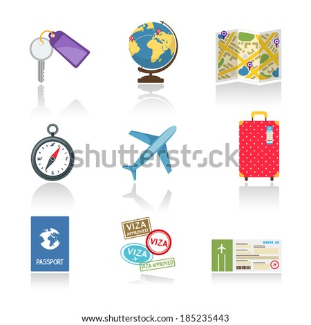 Set of colored travel icons  - stock vector