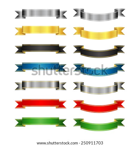 Set of colored vector ribbons and banners - stock vector