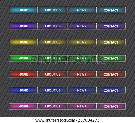 Set of colored web site menu buttons with sample text - stock vector