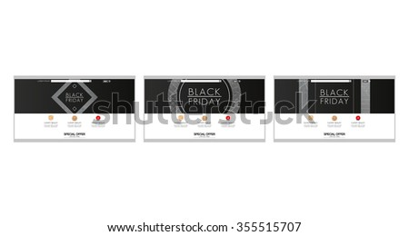 Set of colored web templates with black friday themes - stock vector