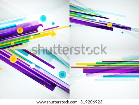 Set of colorful abstract backgrounds. Overlapping color straight lines on light backdrop with art effects - stock vector