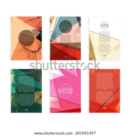 Set of Colorful Abstract Cover Designs - EPS10 Brochure Design T - stock vector
