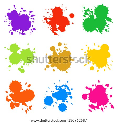 Set of Colorful Abstract Drops, Isolated on White - stock vector