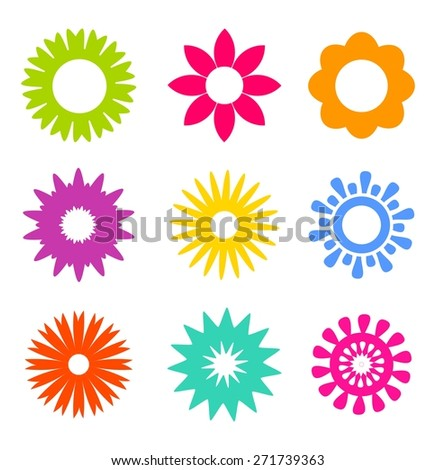 Set of colorful abstract flower icons. Vector illustration - stock vector