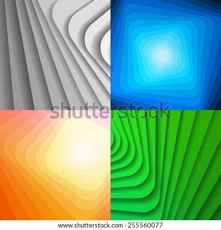 Set of colorful abstract shiny backgrounds. Vector geometric banners with lines and shadows. - stock vector