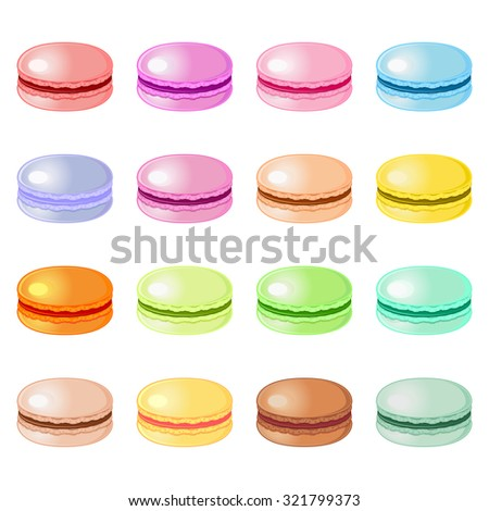 Set of colorful almond cookies macaroons isolated over white - stock vector