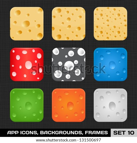 Set Of Colorful App Icon Frames, Templates, Buttons. Set 10. Vector - stock vector