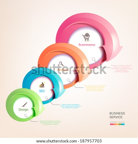 Set of colorful arrows. Infographics with arrows pointing to the company's services. Business development. A successful business. Promotion and advertising business. - stock vector