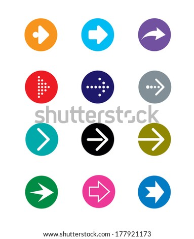set of colorful arrows, vector illustration - stock vector