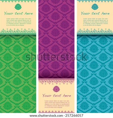 Set of colorful Asian traditional lotus pattern vertical banners with space for text and henna elements - stock vector