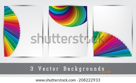 set of 3 colorful backgrounds. Space for your text. (EPS10 Vector) - stock vector