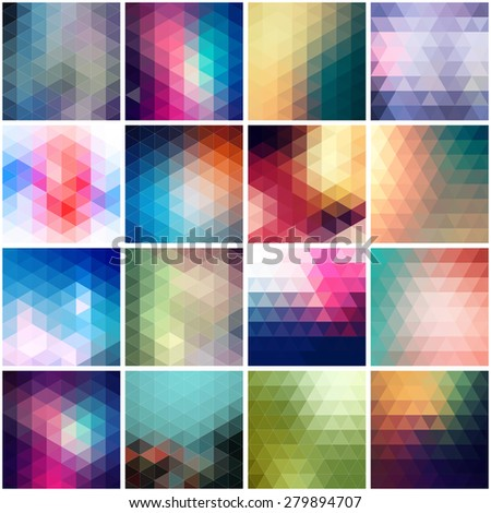 Set of colorful backgrounds. Vector geometric shapes. - stock vector