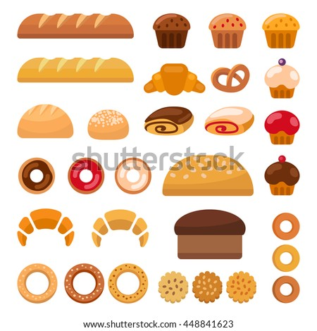 Set of colorful bakery icons depicting muffins, loaves, of bread, bagel, croissants, and donuts vector clipart illustration on white. Vector illustration - stock vector