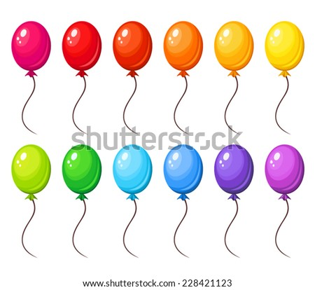 Set of colorful balloons. Vector illustration. - stock vector