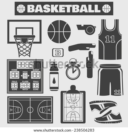 Set of colorful basketball icons in flat style. Vector illustration with various sport symbols on light background - stock vector