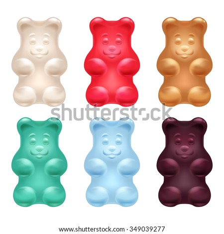 Set of colorful beautiful realistic jelly gummy bears. Sweet candy food. Strawberry vanilla caramel cola menthol flavors. Vector illustration. - stock vector