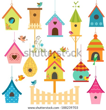 Set of colorful bird houses. - stock vector