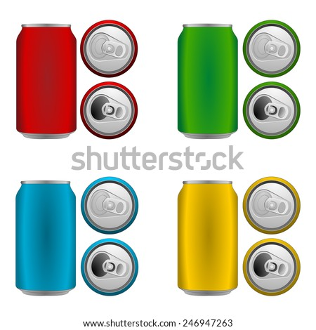 Set of colorful blank aluminium cans in blue, green, yellow and red color. Side and top view, open and closed. Bird's eye view - from above. Vector art image illustration, isolated on white background - stock vector