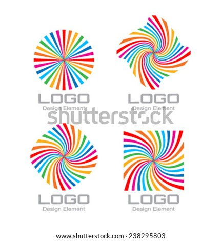 Set of Colorful Bright Rainbow Spiral Logo. Vector Illustration  - stock vector