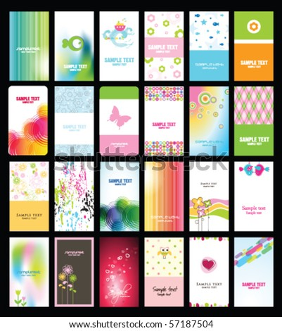 Set of colorful business cards Abstract templates and textures - stock vector