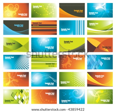 set of colorful business cards, vector illustration - stock vector