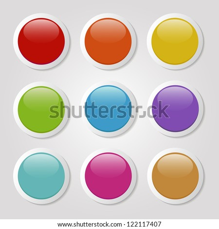 set of colorful buttons - stock vector