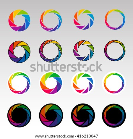 Set of colorful camera shutter icons. Vector illustration. - stock vector