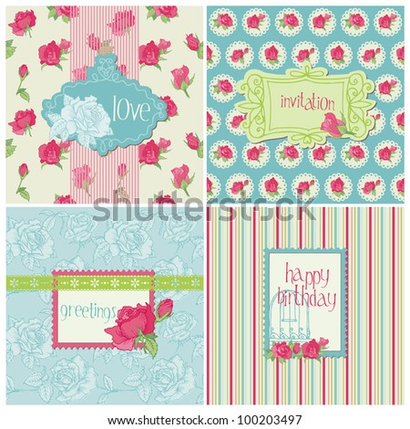 Set of Colorful Cards with Rose Elements - for birthday, wedding, invitation, holiday in vector - stock vector