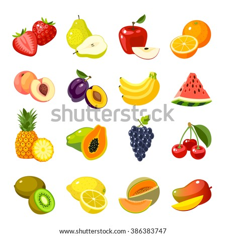 Set of colorful cartoon fruit icons: apple, pear, strawberry, orange, peach, plum, banana, watermelon, pineapple, papaya, grapes, cherry, kiwi, lemon, mango. Vector illustration, isolated on white. - stock vector
